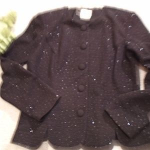 Leslie Fay Black Sparkly Jacket